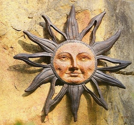 Celestial Sun Face Metal Wall Hanging