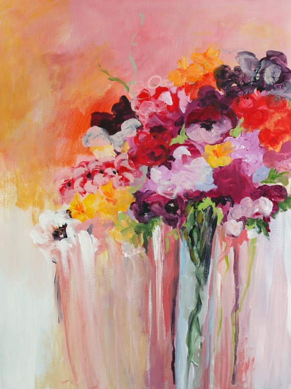 Original acrylic painting abstract flowers by for Flower paintings on canvas