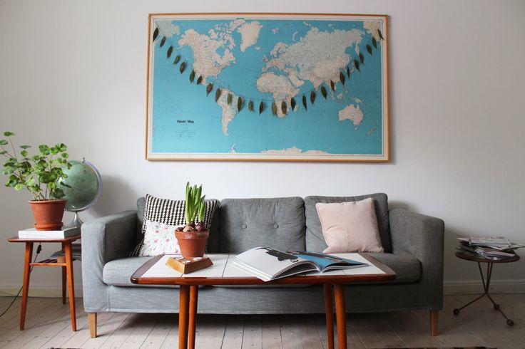 a big world map in a living room! help me to stick photo for every place that i've traveled :D