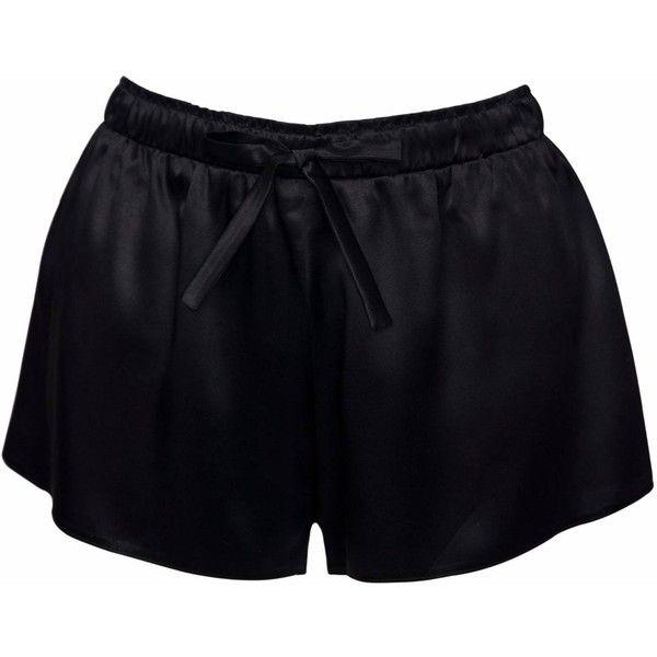 VUJVUJ Nightwear - BLACK SILK SLIP SHORTS ($67) ❤ liked on Polyvore featuring intimates, sleepwear, pajamas, silk pyjamas, silk pjs, silk slip, silk sleepwear and silk sleep wear