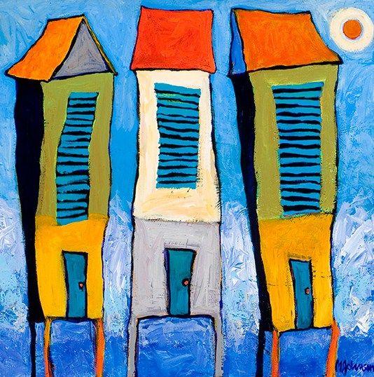 "Mandy Johnson | ""Up Tight"" -Whitesides Gallery, Housese Art, Johnson Whimsical, Mandy Johnson, Art Colors, Dynamic Work, House Art, Morris Whitesides, Colors Whimsy"