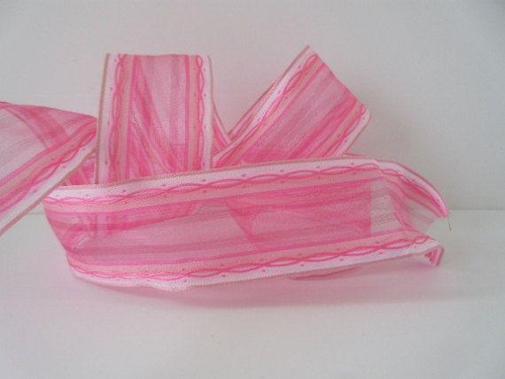 Pink Sheer Ribbon Pink Ribbon Valentines Day by DanJSupplies