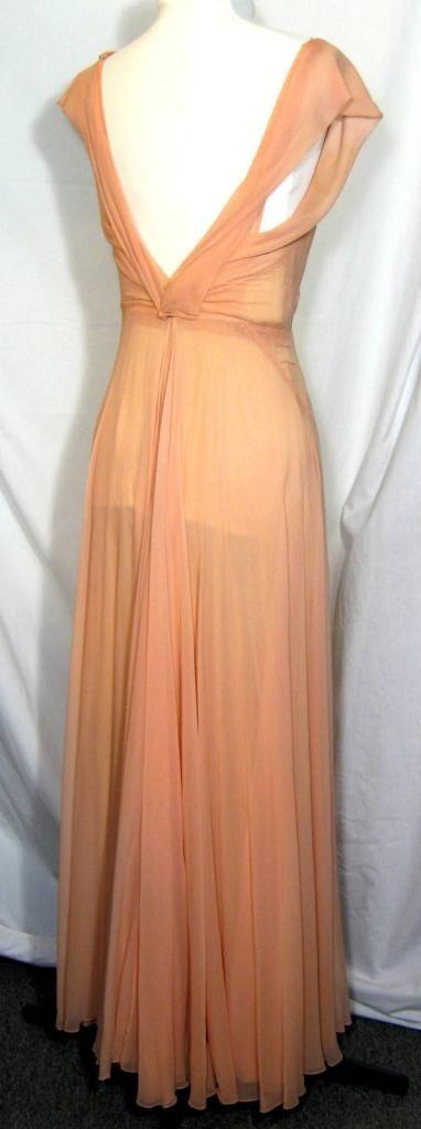 Art Deco Peach Dressing Gown, Negligee & Slip. Marshall Field Curve Hugging, Bias Cut, Circa 1933.