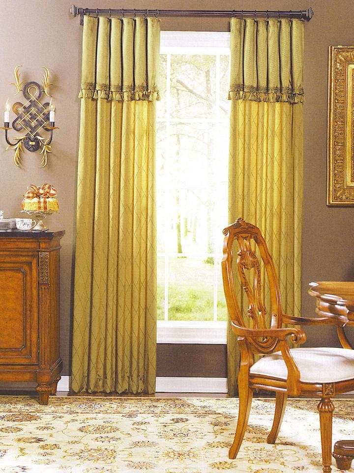 Pinch Pleated Drapes With Attached Valance Curtains And Drapes Custom Window Treatments