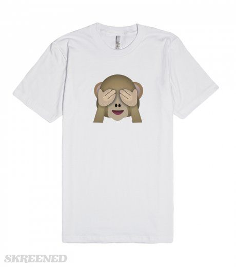 Emoji See No Evil Monkey Tee | Emoji See No Evil Monkey Tee. One of the three wise monkeys, known as Mizaru. This See-No-Evil monkey has hands covering his eyes, as part of the proverb �see no evil, hear no evil, speak no evil�. Also known as Monkey Covering Eyes Emoji, Cheeky Emoji and Cheeky Monkey Emoji. #Skreened