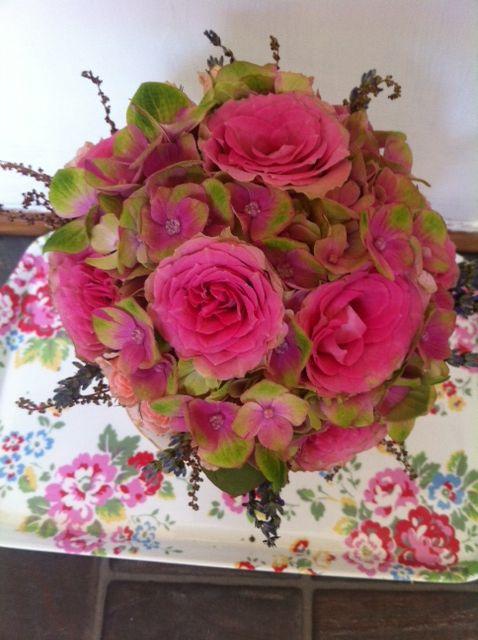Pink hydrangea and Rose bridesmaid posy