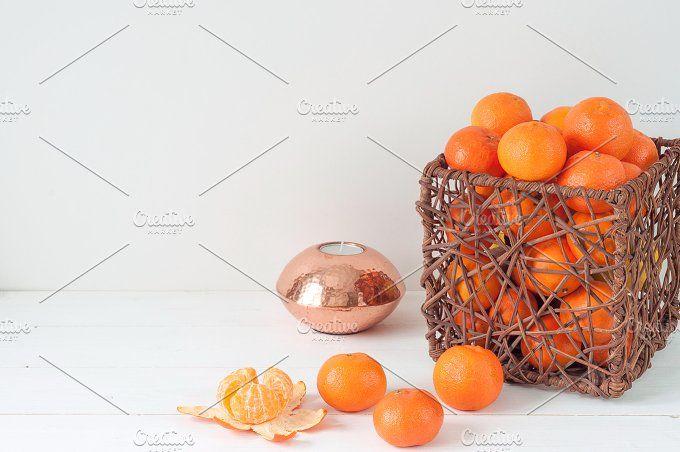 Minimal elegant composition with tangerines and vase by White Nova Studio on @creativemarket