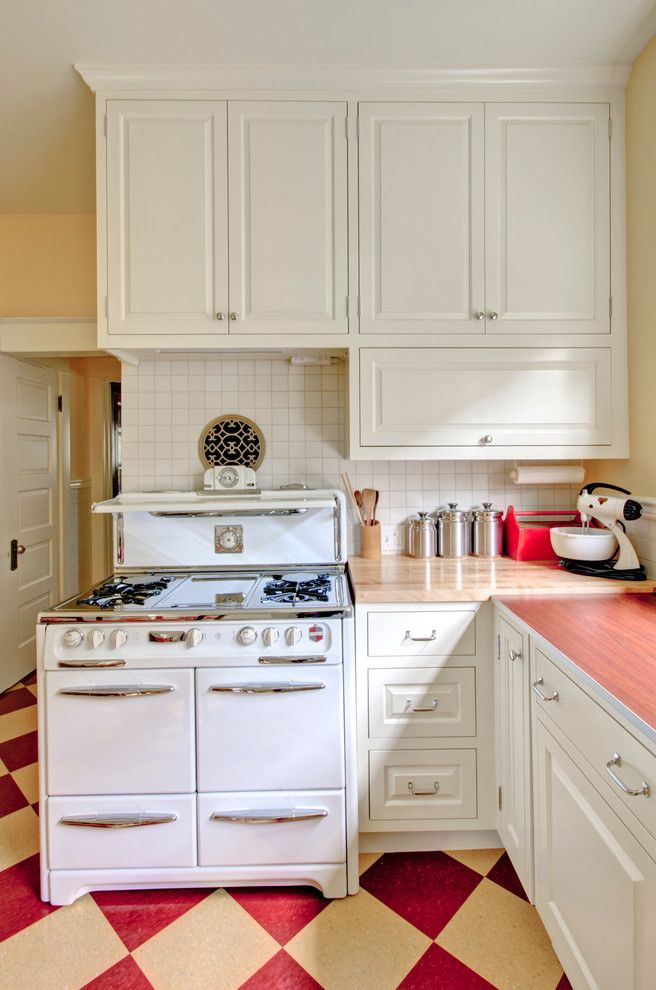 Good Sumptuous Retro Mini Fridgein Kitchen Shabby Chic With Winsome Red  Countertop Next To Good Looking Vct Tile Alongside Cute Bertazzoni Gas  Range And Charming ...