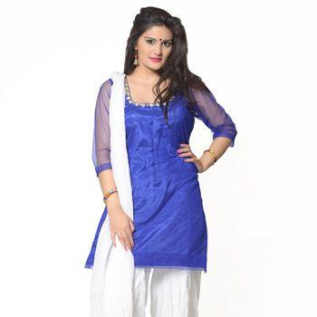 Blue Net Readymade Patiala Suit-$71.20