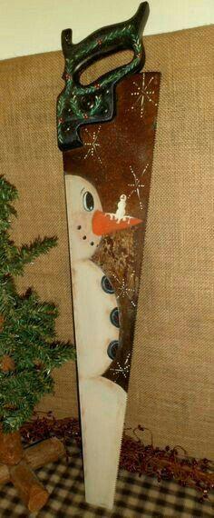 Saw winter Christmas decoration
