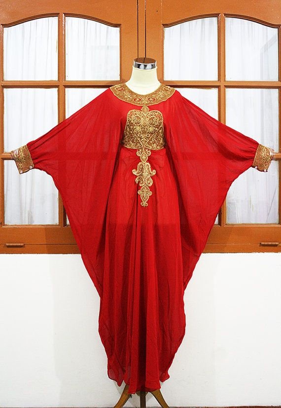 Red Ruby moroccan kaftan Dubai style gold embroidery abaya maxi dress farasha hijab jalabiya