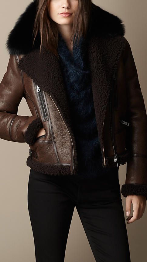 Shearling Aviator Jacket with Removable Fur Topcollar | Burberry