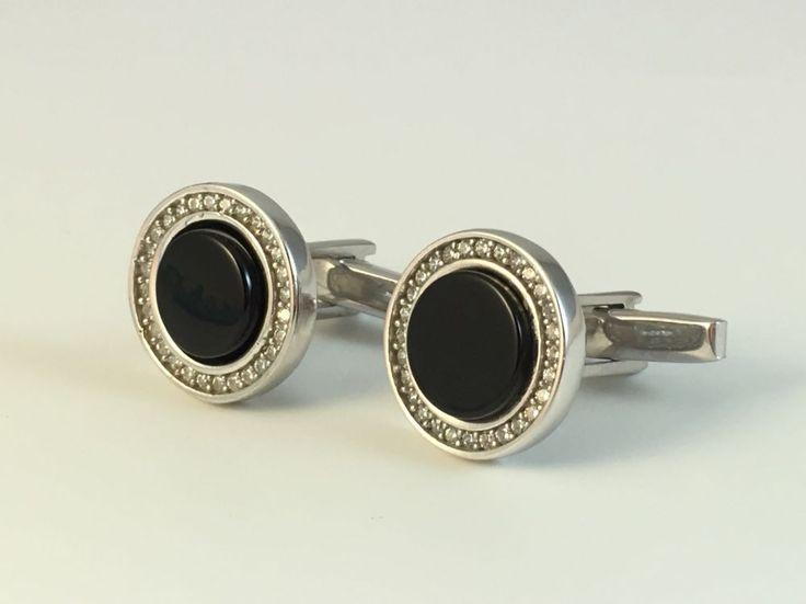Gentle Turkish Handmade 925K Sterling Silver Round Black Onyx Men's Cufflinks | eBay