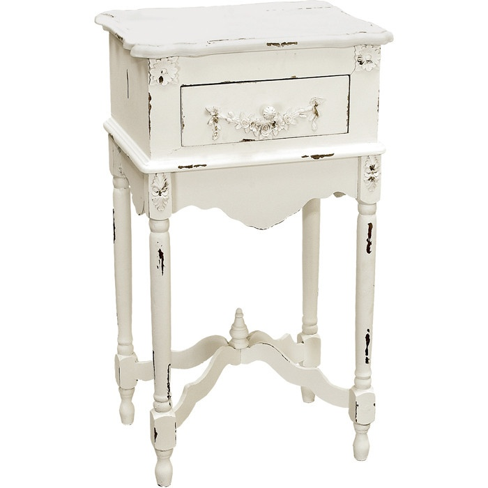 Distressed white wood side table ♥