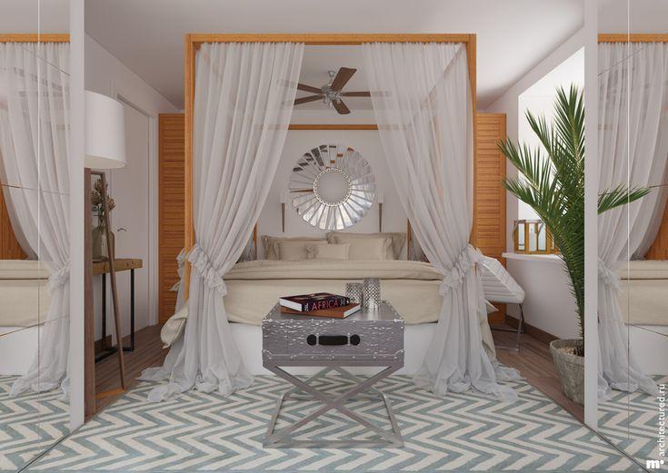 В оформлении этой комнаты видны элементы колониального стиля. Белые стены, деревянные вставки, и балдахин с воздушной тканью делают интерьер этой комнаты теплым и легким. Но при этом комната очень функциональна: деревянные вставки справа и слева от кровати — это дверцы двух небольших шкафов (основной бельевой шкаф расположен за спиной смотрящего), а перед широким подоконником стоит кресло, превращая его в своеобразный столик.