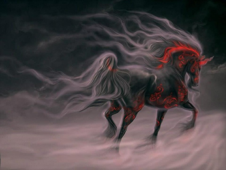 """The """"Cavalo do Pensamento"""" is a mythical being of Portuguese legends. The """"Cavalo do Pensamento"""" throws fire through the eyes and mouth and rides through the winds at high speed. This horse appears in the legends of Enchanted Mouros."""