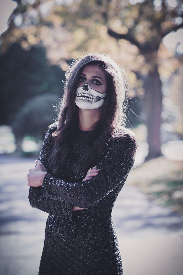 skeleton makeup, skeleton costume, half skeleton makeup, halloween makeup ideas, black sequins dress, black sequins gown, sequin gown, halloween costume ideas, womens halloween costumes, cave hill cemetery, cute halloween costume ideas // grace wainwright from a southern drawl