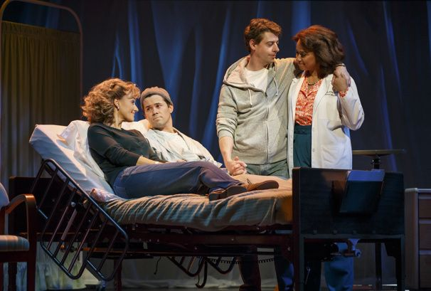 Falsettos - Betsy Wolfe as Cordelia, Andrew Rannells as Whizzer, Christian Borle as Marvin and Tracie Thoms as Charlotte in Falsettos.