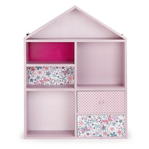 Maringa - Rangements de chambre enfant-Meubles pour chambre enfant Etagère de rangement rose pour enfant en forme de maison