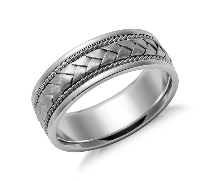 Trending Simply unique this hand crafted wedding ring in white gold features a braided design