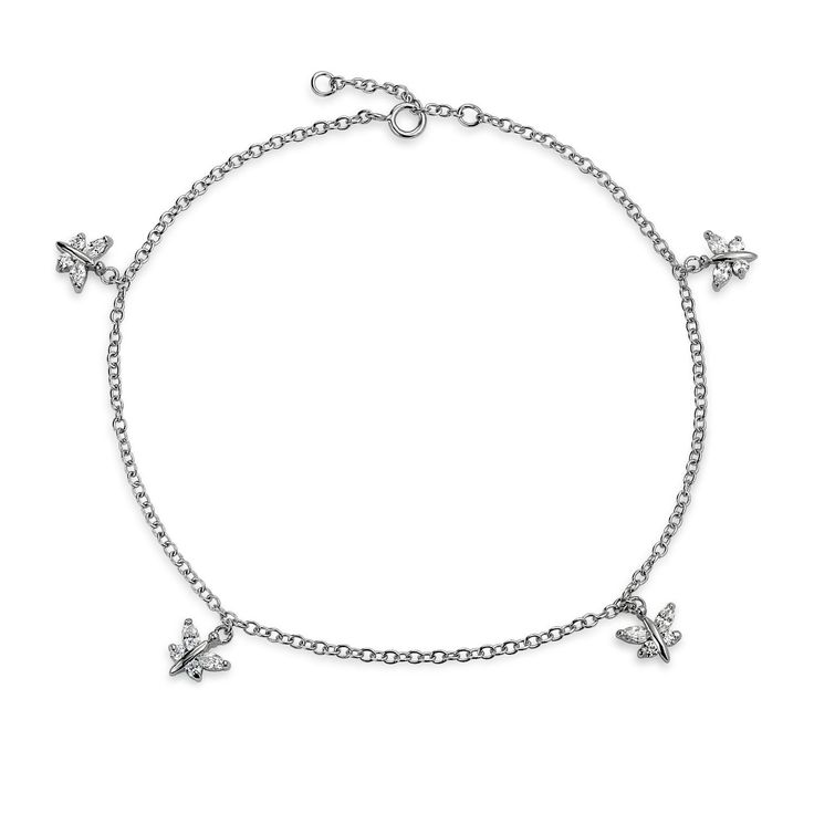 Bling Jewelry Butterfly Charms Anklet Marquise CZ Rolo Chain Bracelet 925 Sterling Silver *** Want additional info? Click on the image. (This is an Amazon Affiliate link and I receive a commission for the sales)