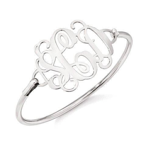 Sterling Silver High Polished Monogram Bangle Bracelet