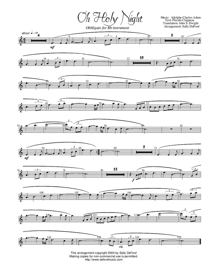 Oh Holy Night for B-flat clarinet