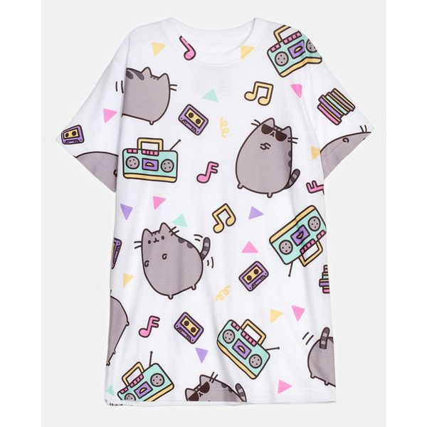 Dance Party Pusheen all-over print unisex T-shirt ($24) via Polyvore featuring tops, t-shirts, shirts, all over print t shirt, party shirts, party tops, going out shirts and unisex tees