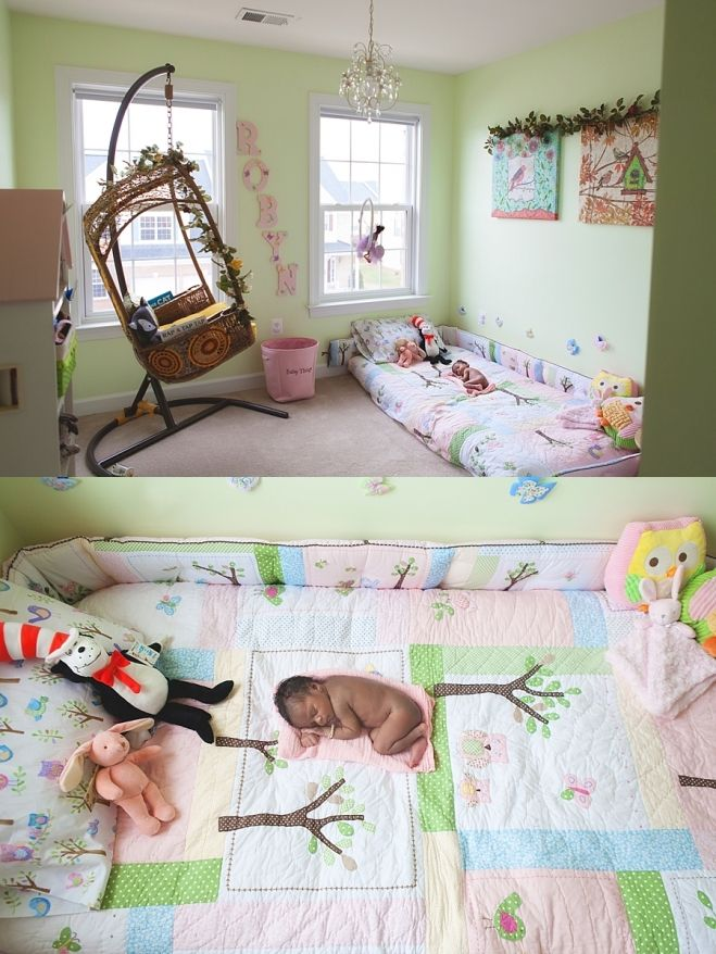 New born photo session down in baby 39 s montessori inspired - Bedroom with mattress on the floor ...