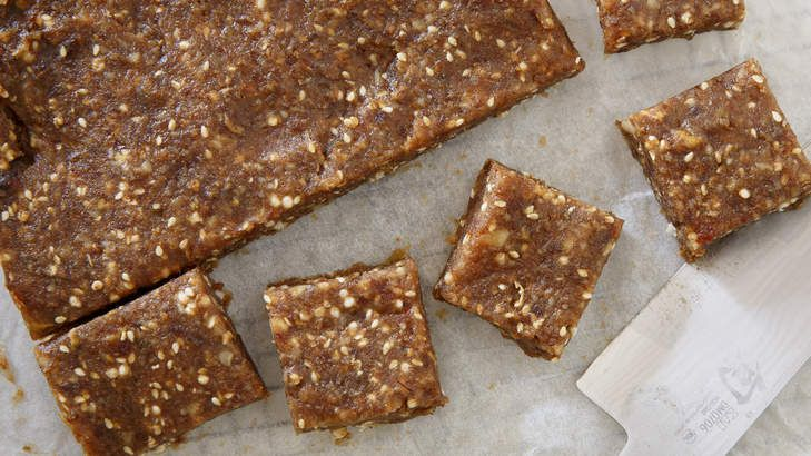 Healthy banana, walnut and sesame health bars perfect for snacking.