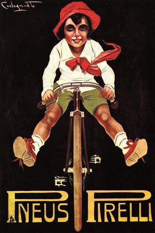 Tires pneus pirelli bicycle girl riding bike fun sport vintage poster repro