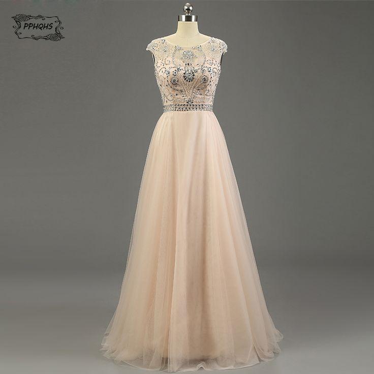>> Click to Buy << El Nuevo Fashion handmade Crystal simple prom dress sexy lady A line sleeveless chiffon long dresses 2017 #Affiliate