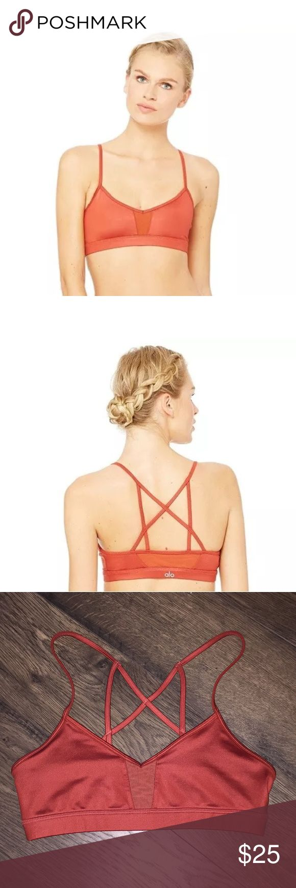 Alo Yoga Sunbaked Glossy Goddess Bra S Worn, but appearance is like new. Glossy finish. Cut holes in lining to allow for pads (see pics). Not visible while wearing. Warm burnt color looks nice with black, grey, and patterns. ALO Yoga Intimates & Sleepwear Bras