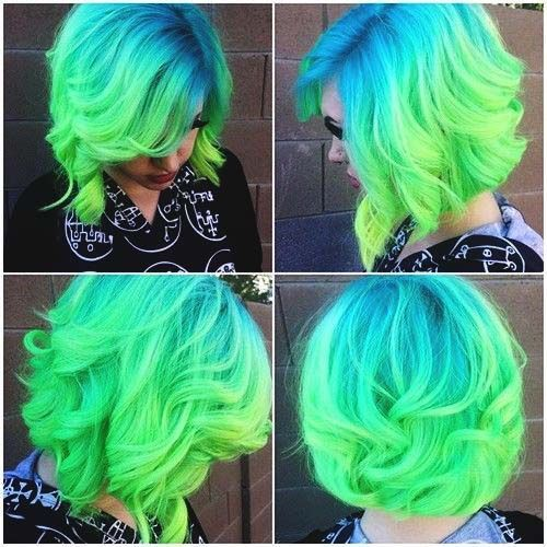 Blue and Green Short Ombre Hair hair blue hair ombre hairstyles short hair ombre…