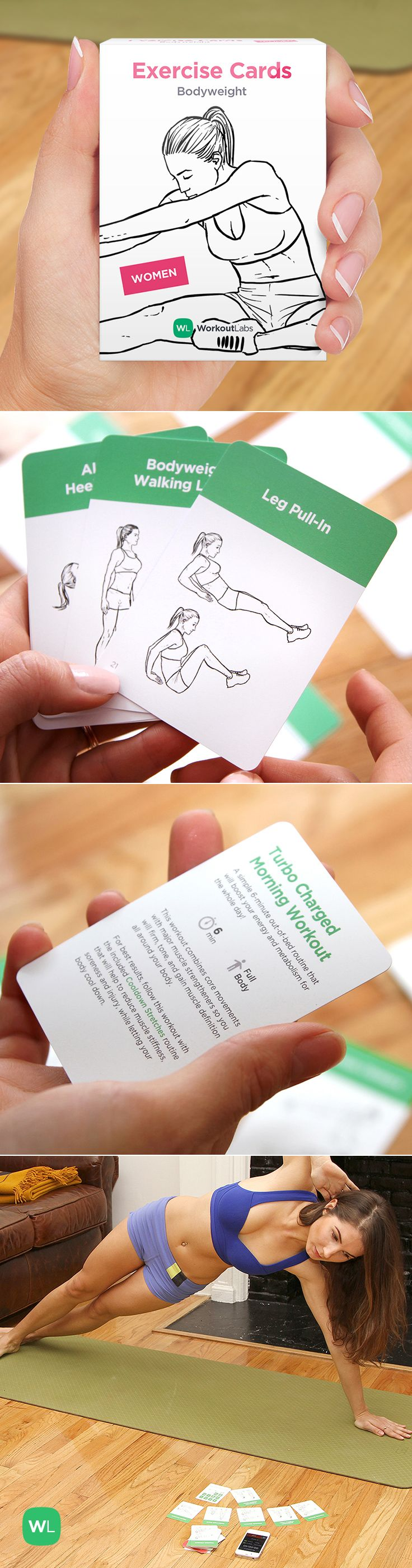 Exercise Cards – a fun and simple way to work out anywhere without weights or gym equipment! Visit https://WorkoutLabs.com/exercise-cards