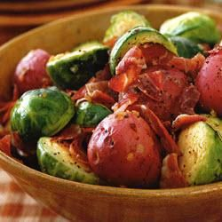 Mustard-glazed Brussels sprouts & new potatoes