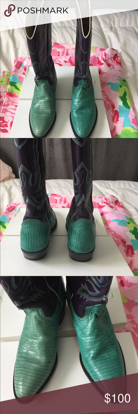 Dan Post women's cowboy boots Genuine lizard  and leather boots purple and green. One boot seems to be a shade lighter hardly worn comfortable Dan Post Shoes Heeled Boots