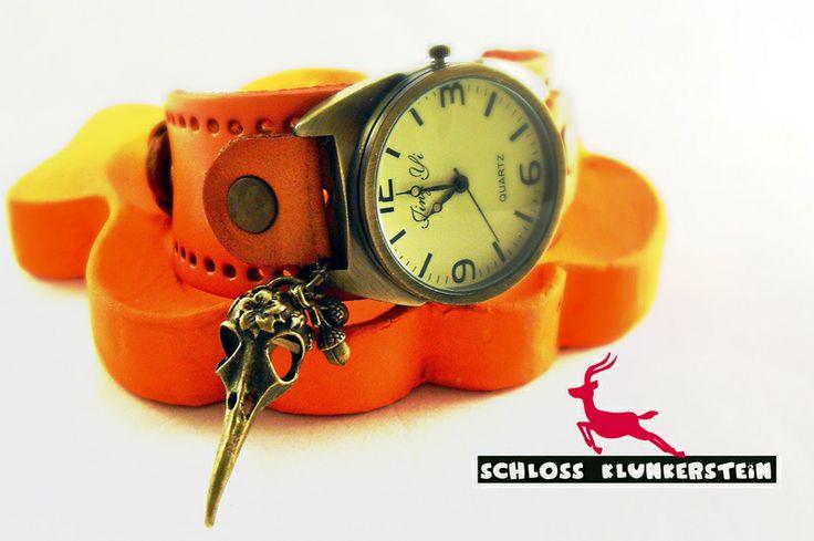 STURMVOGEL Unisex Echt Leder Vintage Armband Uhr von ♥ Schloss Klunkerstein ♥ Geschenke, Uhren, handgefertigter Unikat Schmuck, romantische Medaillons & Kettenuhren, Naturschmuck, nostalgische, antike & vintage Einzelstücke und seltene Schätze auf DaWanda.com