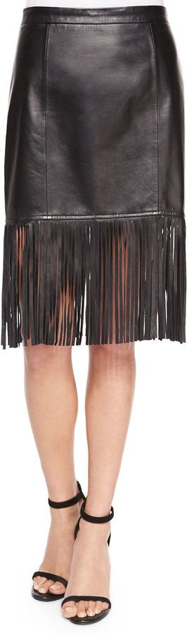 Cusp by Fringe-Hem Leather Pencil Skirt. I simply can't get enough of this.