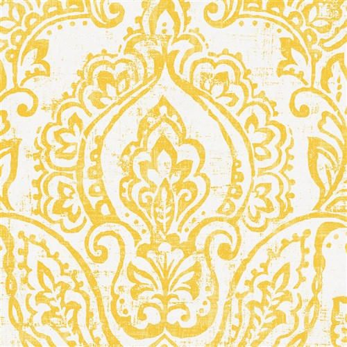 White and Yellow Vintage Damask Fabric by the Yard | Yellow Fabric | Carousel Designs