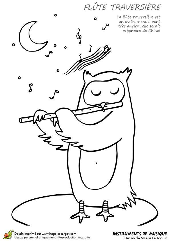 dessin  u00e0 colorier instrument de musique typique la flute