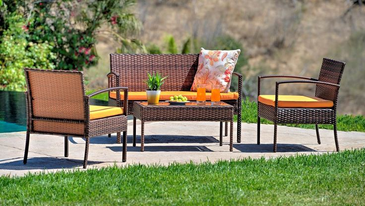W Unlimited Lucy Collection Outdoor Garden Black Wicker Conversational Furniture 4PC set w/ Table Orange Cushion