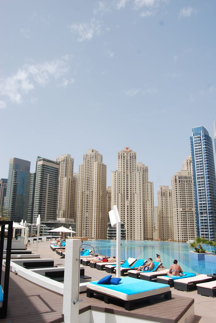 View of hotel pool, The Strand, Dubai Marina