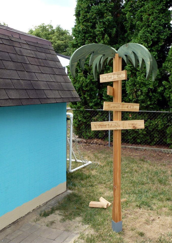 For outside by the pool, either with hooks or to hold the signs of tropical locations.
