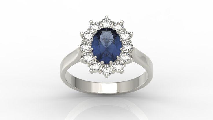 Pierścionek z białego złota z szafirem i diamentami/ Ring made from white gold with sapphire and diamonds #engagementring #ring #engagement #jewellery #diamonds $whitegold #sapphire