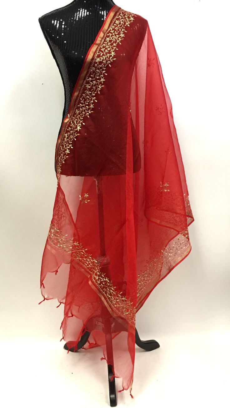 Organza Dupatta with Golden Embroidery - Maroon