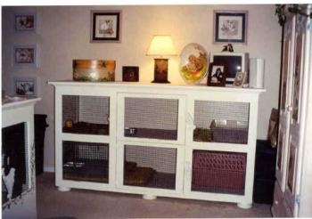 DIY indoor rabbit hutch- still not sure how I feel about putting them in a cage during the night...