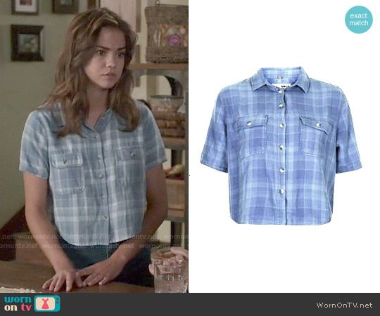 Callie's blue plaid cropped shirt on The Fosters. Outfit Details: http://wornontv.net/50555/ #TheFosters