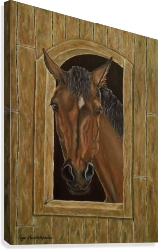 Painting,  horse,portrait,equine,eqiestrian,animal,wild,life,wildlife,western,stallion, in the, stable, brown, colors, posing,window,realism,figurative,unique,artistic,beautiful,cool,awesome,decor,contemporary,modern,virtual,deviant,unique,fine,art,oil,wall art,awesome,cool,image,picture,artwork,for sale,pictorem