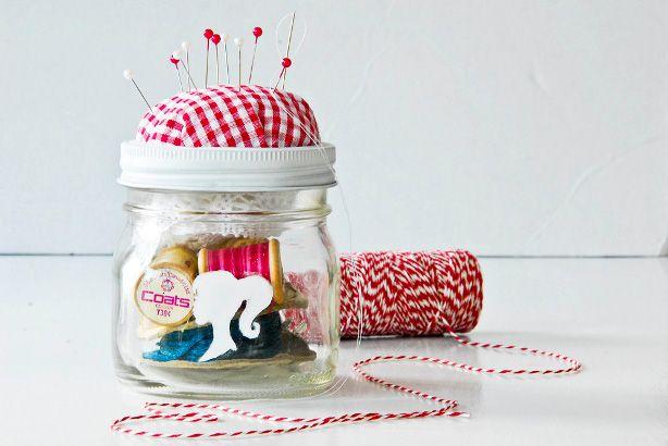 Stunning Mason Jar Crafts by Earth911.com ....Jars Gift, Crafts Ideas, Sewing Kits, Pin Cushions, Gift Ideas, Diy Gift, In A Jars, Pincushions, Mason Jars